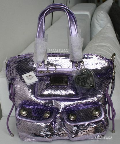 COACH Sequin Spotlight POPPY Bag Purse 13821 NWT  HOT  Lilac   Lt. Purple  THE ONE THAT GOT AWAY LOL ee0b295742b37