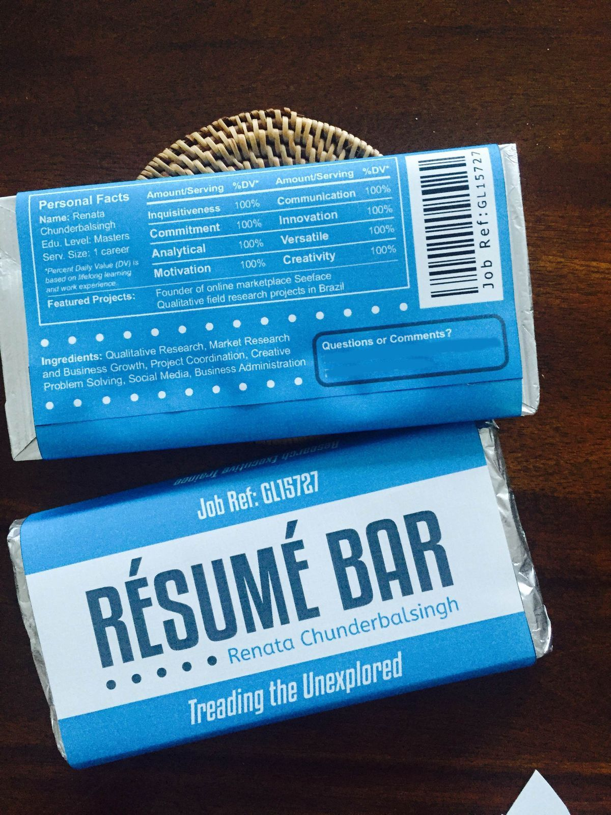 The chocolate bar resum is still a surefire way of getting noticed for promotional folders business cards flash drives and collateral printing visit www colourmoves Image collections