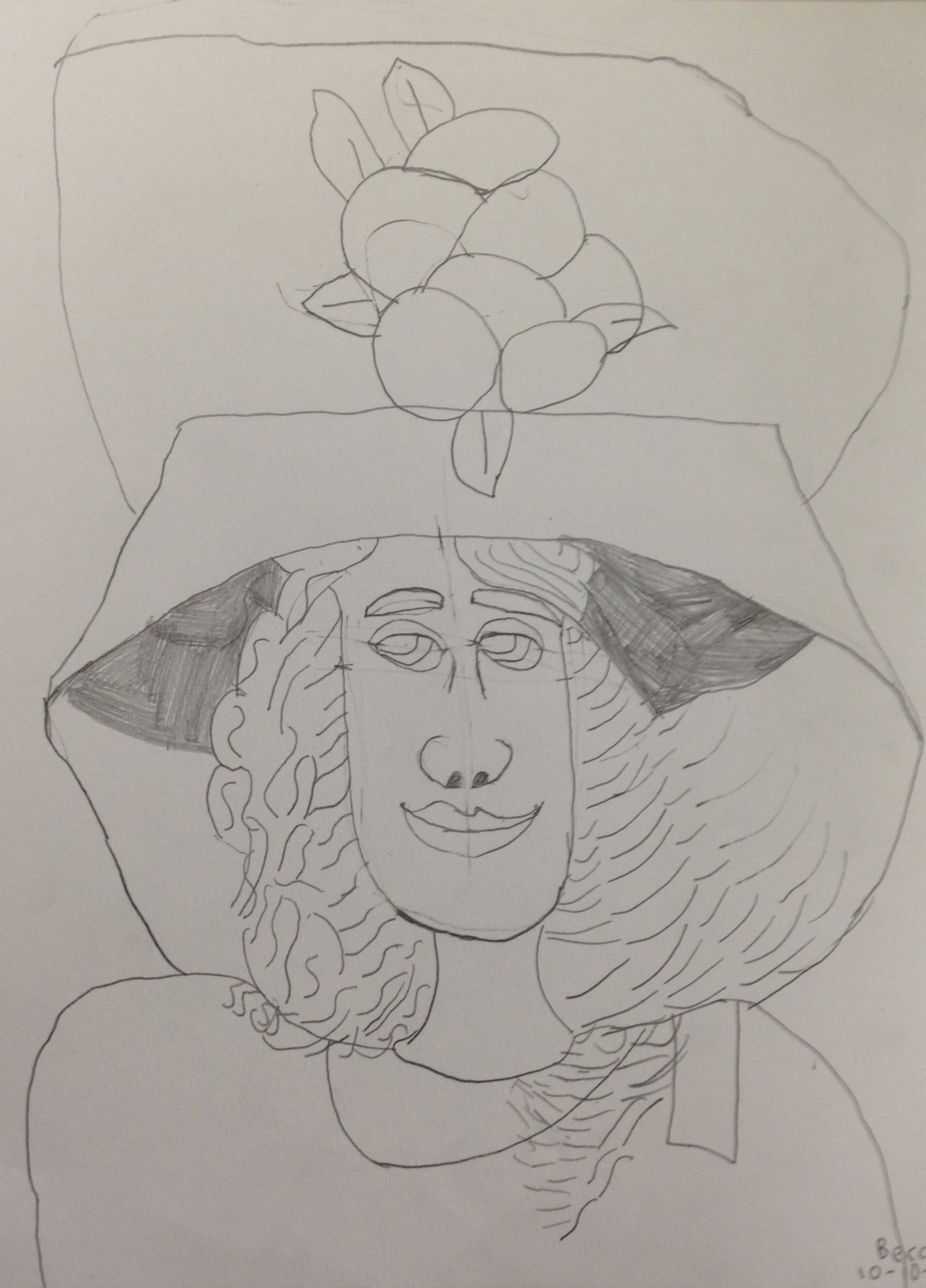 Pencil drawing based on mary cassatts girl with a large hat pencil on watercolor paper austin 4th grade