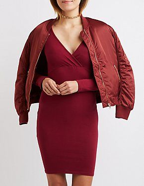 2af75333444b Shop All Dresses | Charlotte Russe Red Wrap Dress, Long Sleeve Midi Dress,  Dress