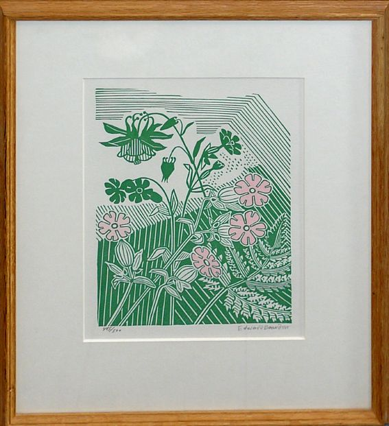 Edward Bawden Campions and columbine linocut