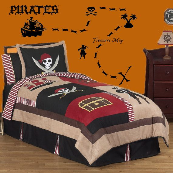 Boys Pirates Ship Treasure Map Vinyl Wall Lettering Decal Kit. Ayden Has The Bedding But He
