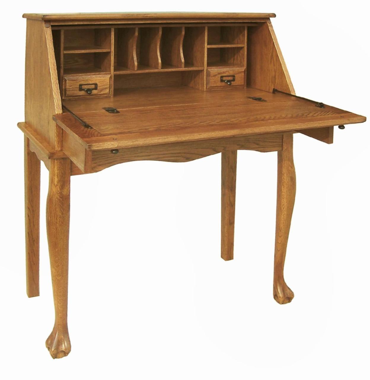 Secretary desk furniture plans - 32 Solid Oak Secretary Drop Down Desk Solid Wood Furniturefurniture Planshome