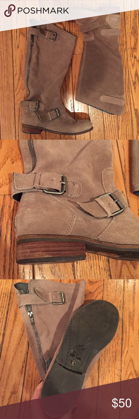 Dolce Vita Taupe Boots. Worn once! Dolce Vita taupe boots with buckle and zipper detailing. Worn once or twice. Look brand new! Dolce Vita Shoes Combat & Moto Boots