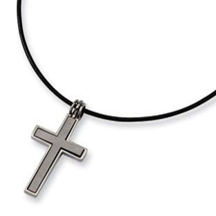 Mens titanium cross pendant leather necklace available exclusively mens titanium cross pendant leather necklace available exclusively at aloadofball