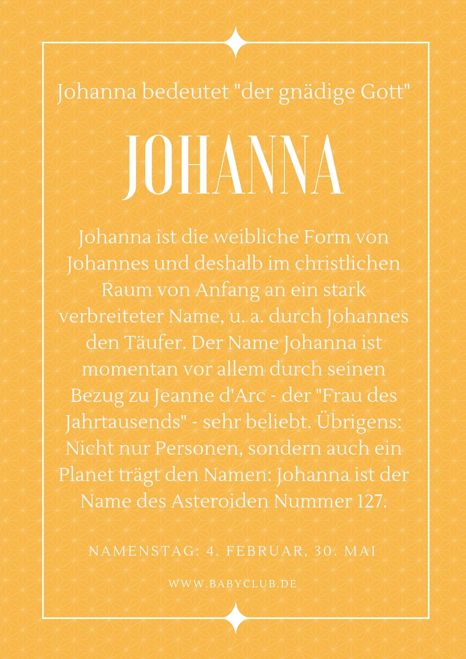 Johanna Namensbedeutung
