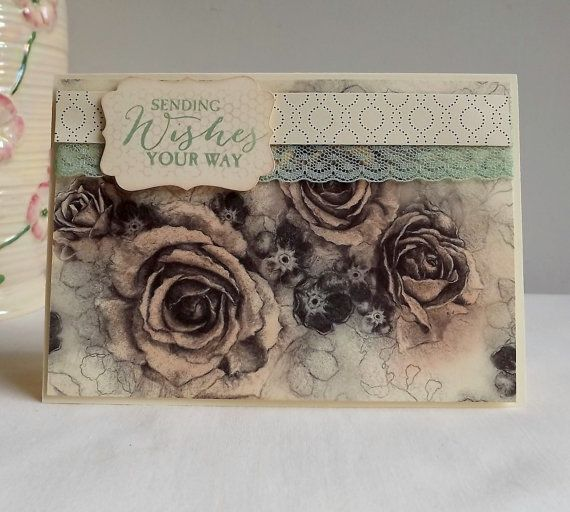Hand made card pink roses with lace trim and by MaudieMaudie