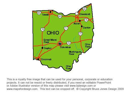 Ohio Columbus Royalty Free Jpg Map Jeux Et Activités Voyage - Cincinnati on us map