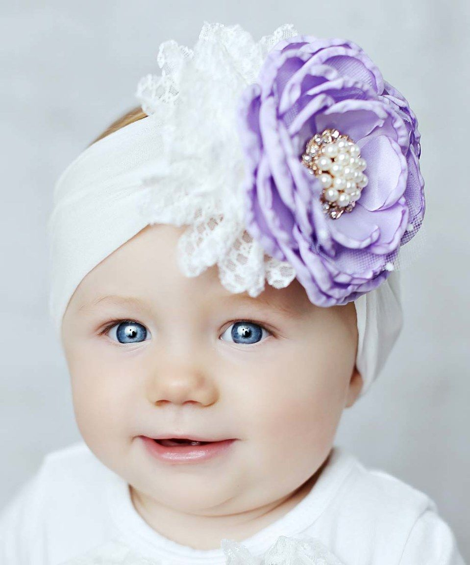Look what I found on  zulily! Lilac   White Flower Bow Headband by Lollies  and Lace Boutique  zulilyfinds 0ee6e378042