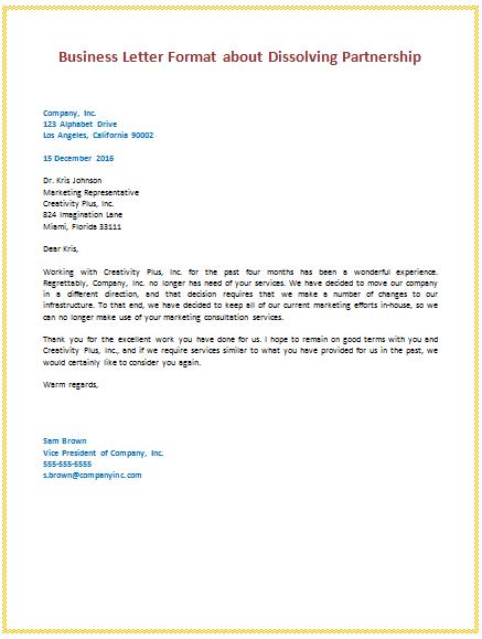 simple business letter format