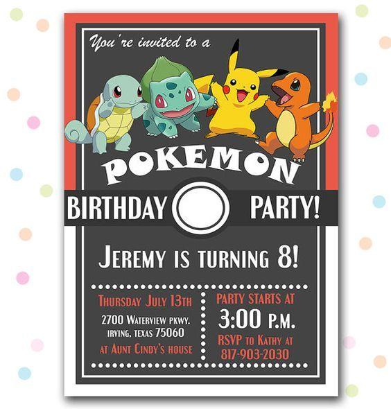 pokemon birthday party invitation party invitation pinterest