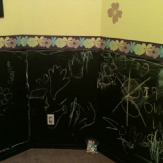 Chalkboard paint is great for on kids walls!! My kids both have chalkboards and love them!!