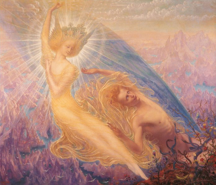 Jean Deville Angel of Splendor Surrealism William Blake Real Canvas Art Print