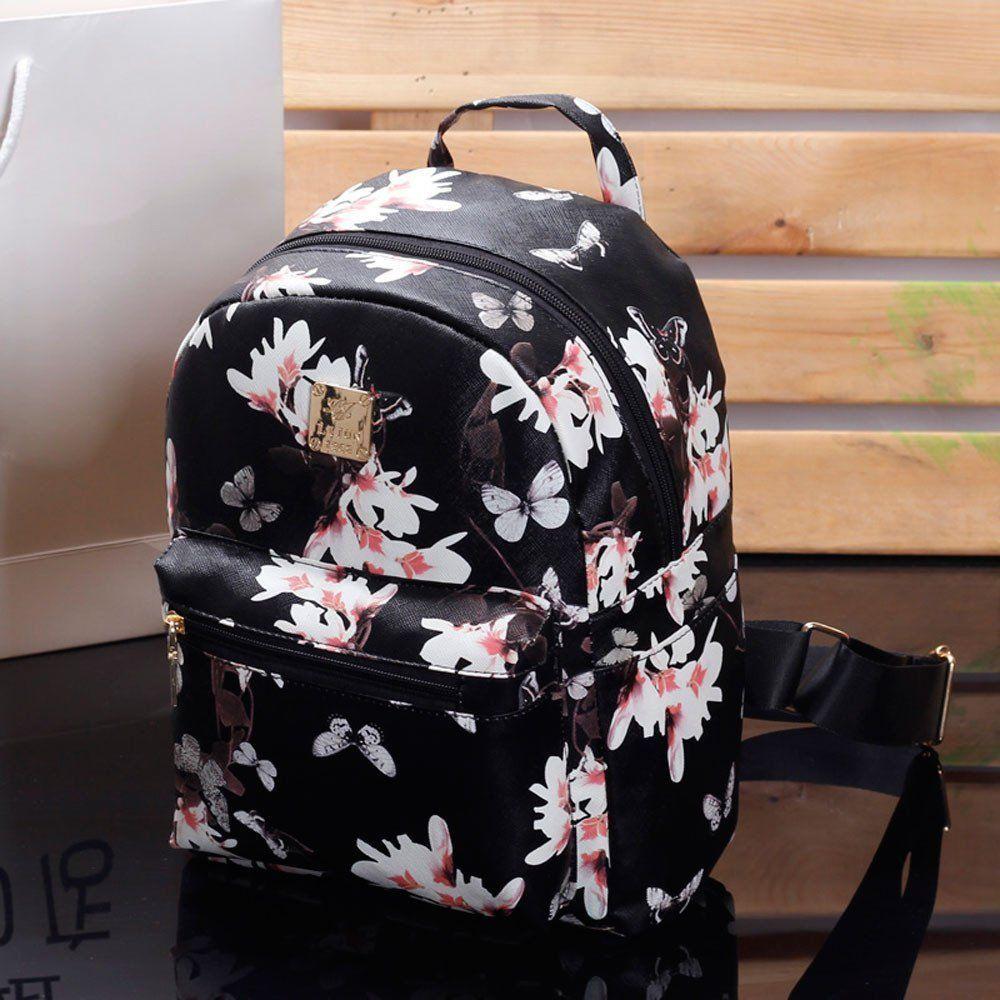 99edee88c2 Women Cute School Bags Backpack Mini 2016 Fashion Back Pack Floral Printing  Black Small PU Leather Backpack For Teenagers Girls  2016backpacksforschool    ...