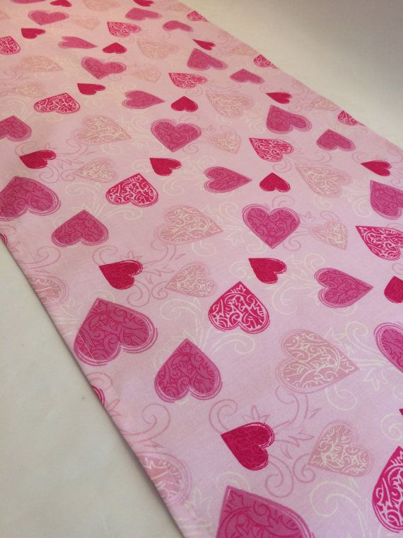 Pink heart designed fabric accent table mat or table runner perfect for a Princess Party, Girls Party, Valentines Party, Love Heart Party or a