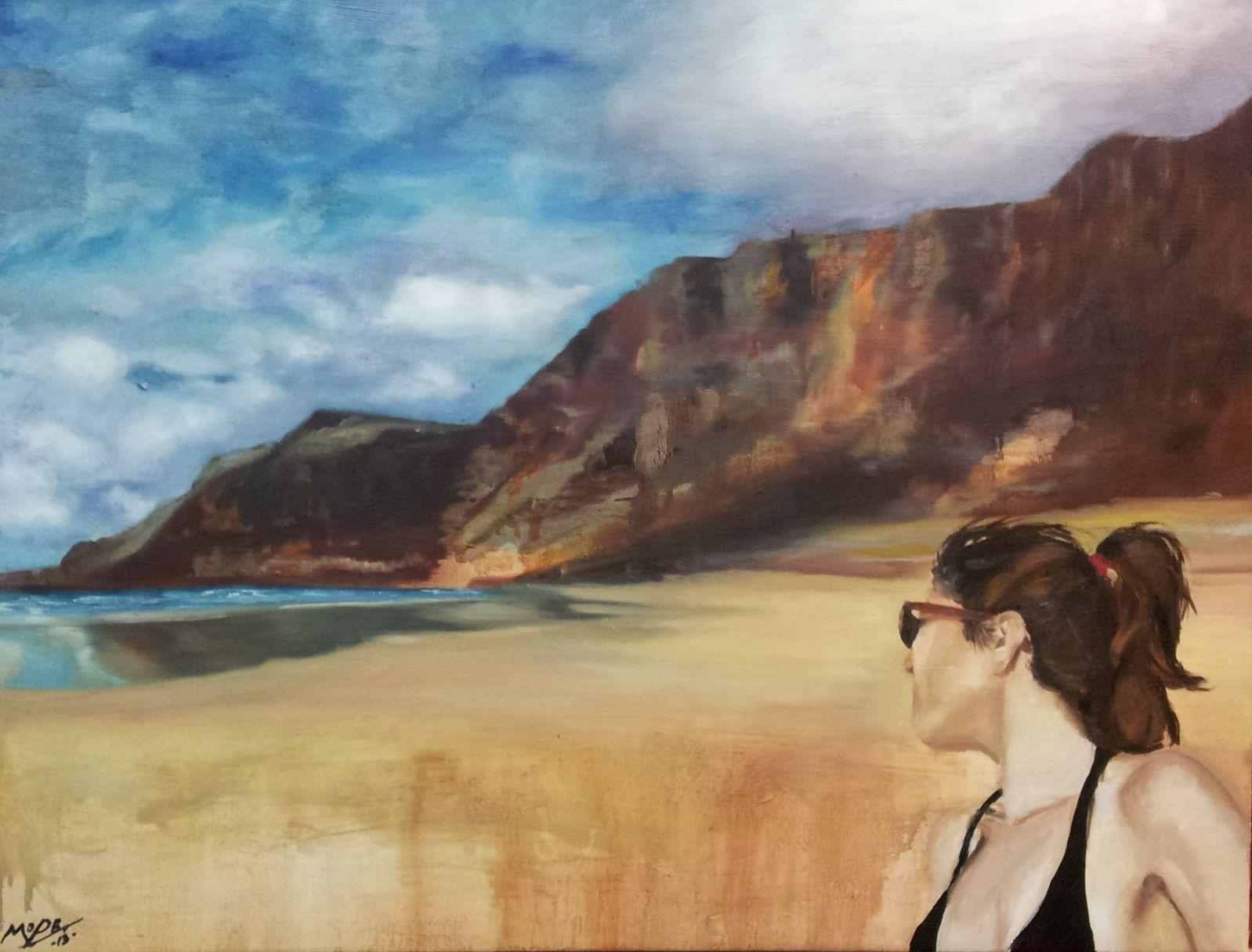 En Famara. En la playa surfera de Lanzarote, con toda la fuerza volcánica que se derrama en el borde.