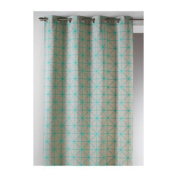 Rideau Coton Imprime Scandinave Turquoise Rideaux Decoration Appartement Rideaux Pret A Poser