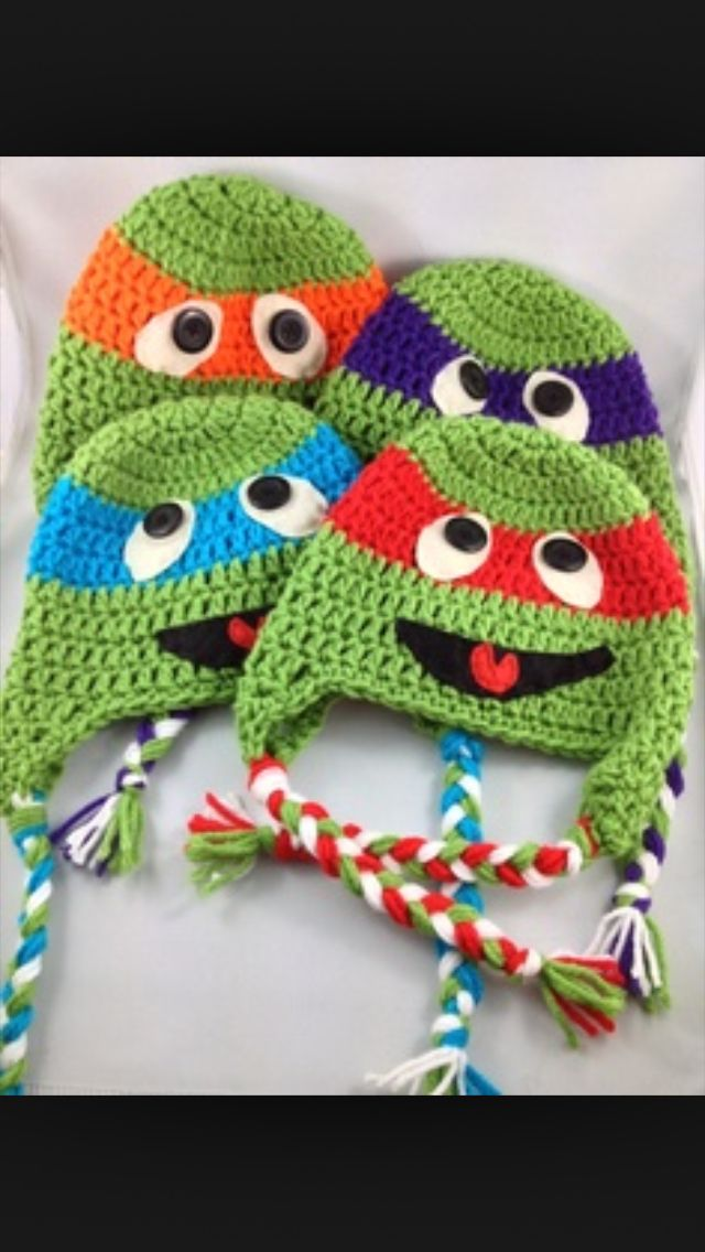 Ninja turtles crochet hats   gorros   Pinterest   Gorros, Gorros ...