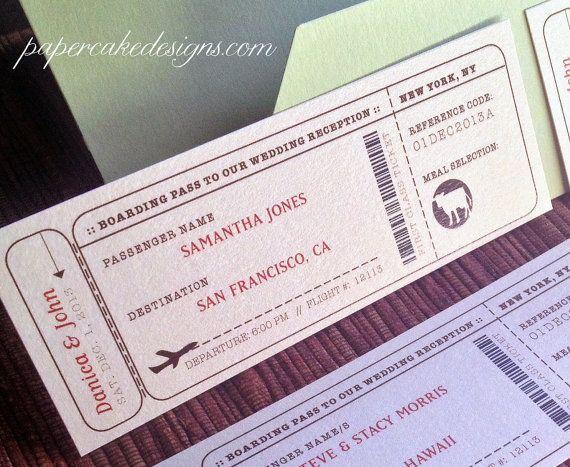 Wedding Reception Boarding Pass Escort Seating Card Ticket DIY Digital Printable File