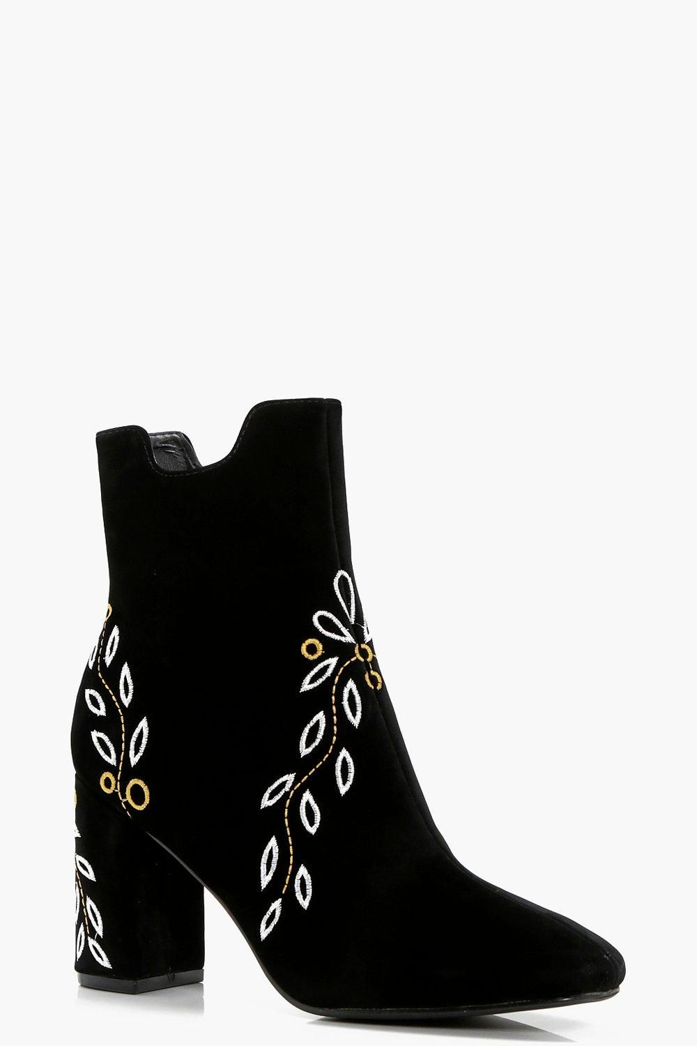 97f4896fce Click here to find out about the Kasey Embroidered Ankle Boots from Boohoo