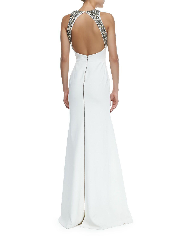 Victoria Beckham Embellished-Back Flared Column Gown
