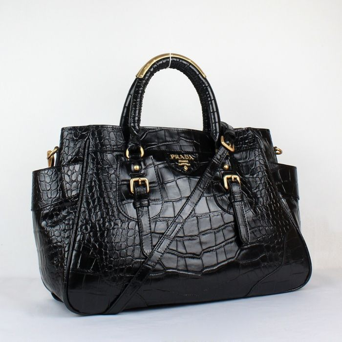 3ba45475c85d Prada Black Crocodile Handbag Leather Versace Handbags