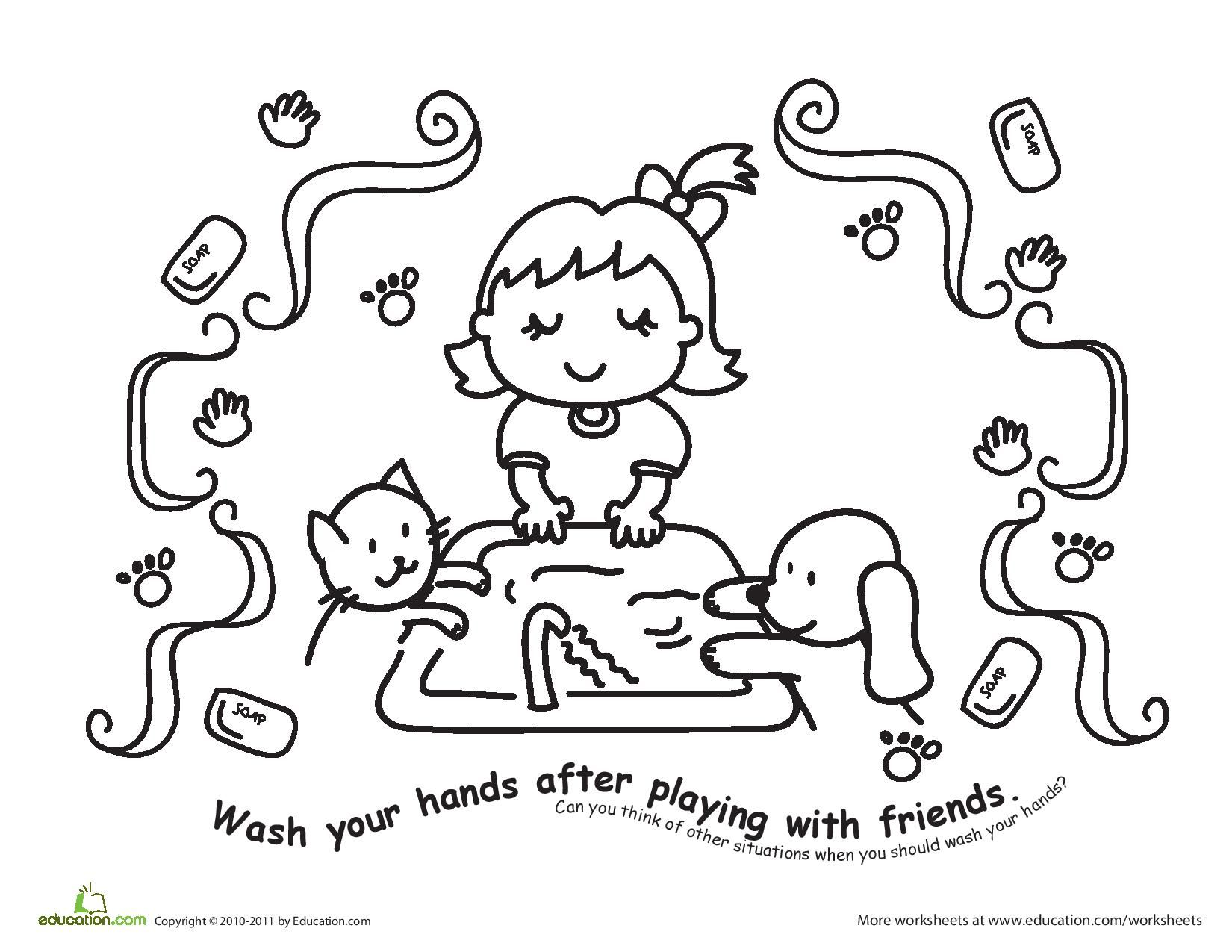 color the hand washing scene  wash your hands after