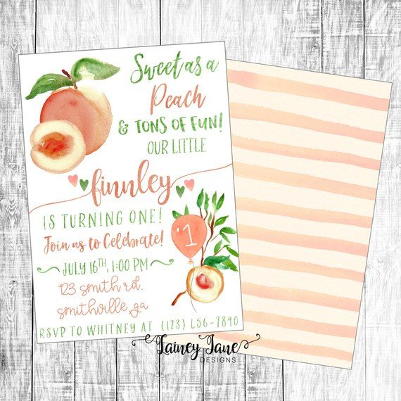 Birthday Invitation, Sweet Peach Birthday Invitation, Sweet as a Peach Party Invitation, Peach Birthday Invitation, Georgia Peach Invitation
