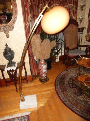 Antique Floor Lamp Vintage Four Light Torchiere Brass Lamp With