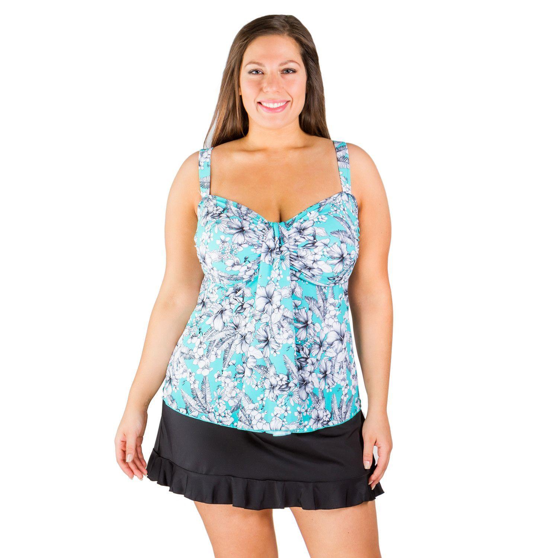 tropical sketch waterfall drape bandeau plus size swimwear top