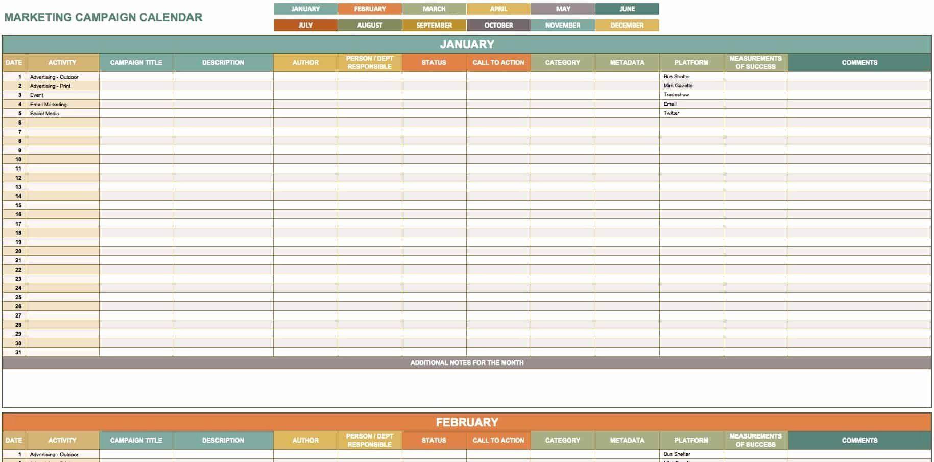 Content Marketing Calendar Template Best Of 15 Free Marketing Calendar Templates Marketing Calendar Template Content Marketing Calendar Excel Calendar Template