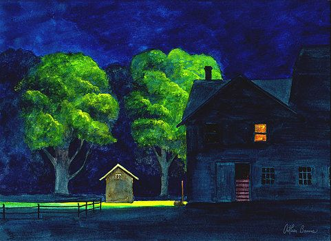Arthur Barnes The Horse Barn Artwork Night Scene Nocturne