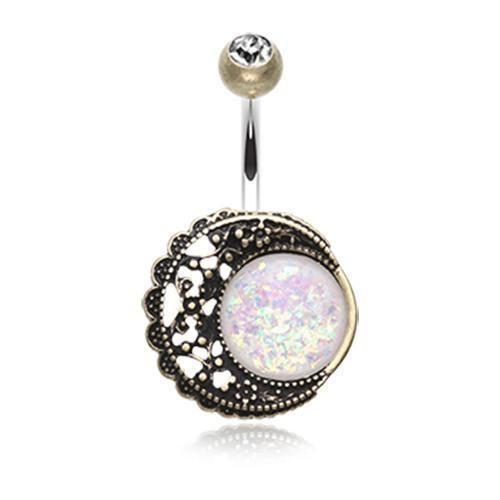 BrassClearWhite Vintage Boho Filigree Moon Opal Belly Button Ring