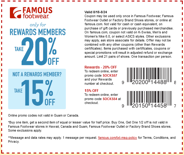 Pinned August 23rd 15 Off At Famous Footwear Or Online Via Promo Code Socks54 Coupon Via The Coup Famous Footwear Free Printable Coupons Printable Coupons