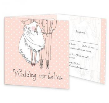 The Pretty Petticoat wedding invitation has a quirky and playfull design which focuses on the bride and groom. This invite has a perforated rsvp panel along with an extra panel for important information. The pink background colour can be altered to match the colour scheme of your wedding day.