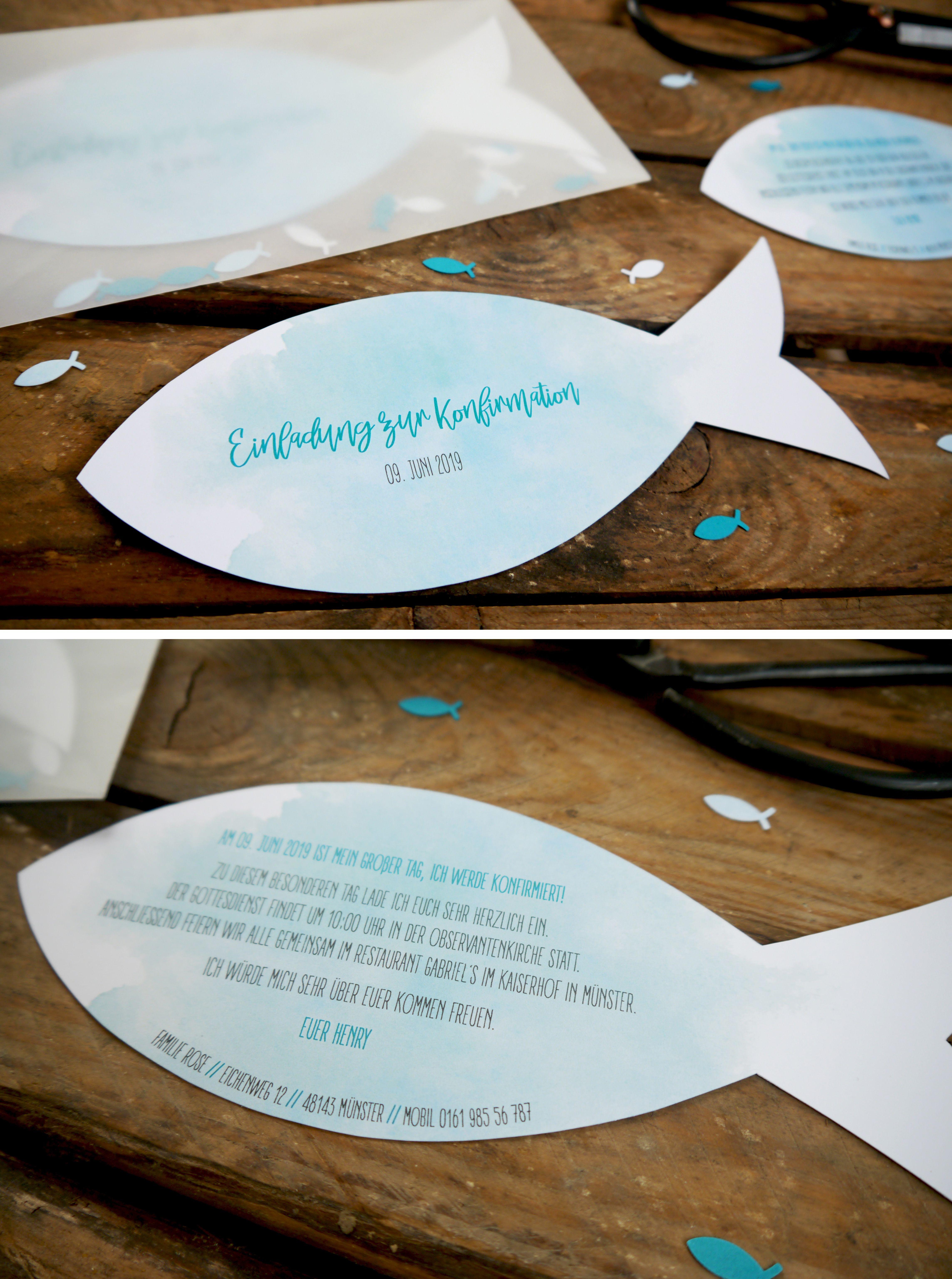Einladung Fisch | Taufe | Kommunion | Konfirmation