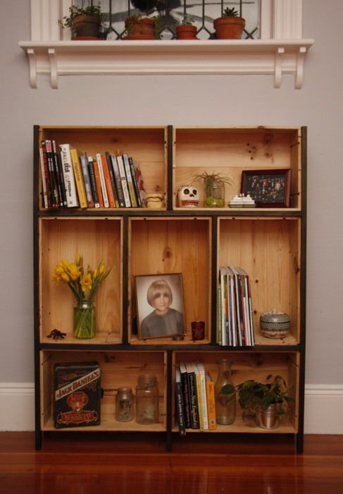 how to use wine boxes as awesome shelving house crate bookshelf rh pinterest com