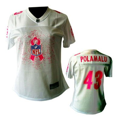 ff9041d4c Pittsburgh Steelers  43 Polamalu white 2011 Breast Cancer Awareness Womens  Fashion Jersey
