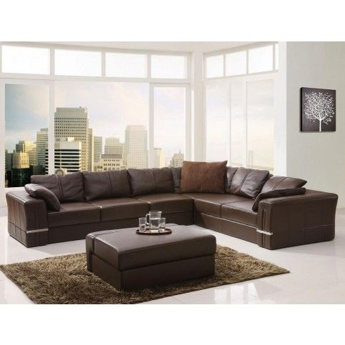 Tosh Furniture Modern Brown Leather Sectional Sofa And