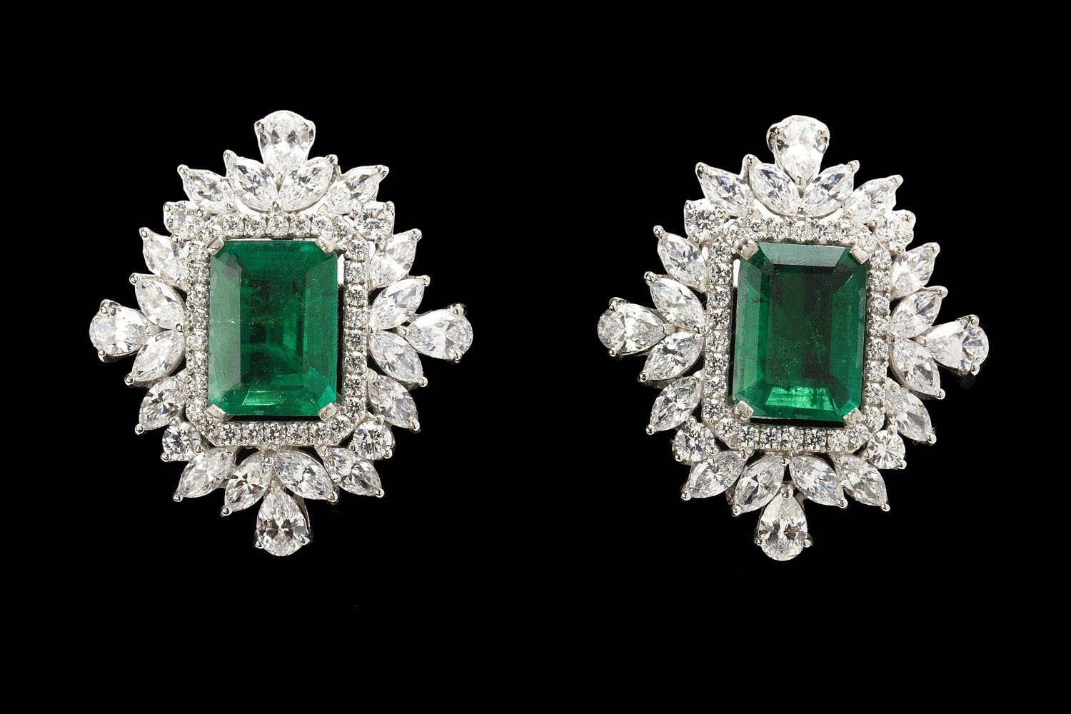 Emerald Stone Earrings - See more stunning jewelry at StellarPieces.com!