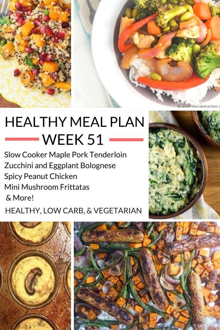 Healthy Meal Plans Week 51   Slender kitchen, Meals and Weekly meal ...