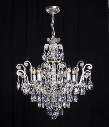 8 light pewter frame, clear crystal chandelier