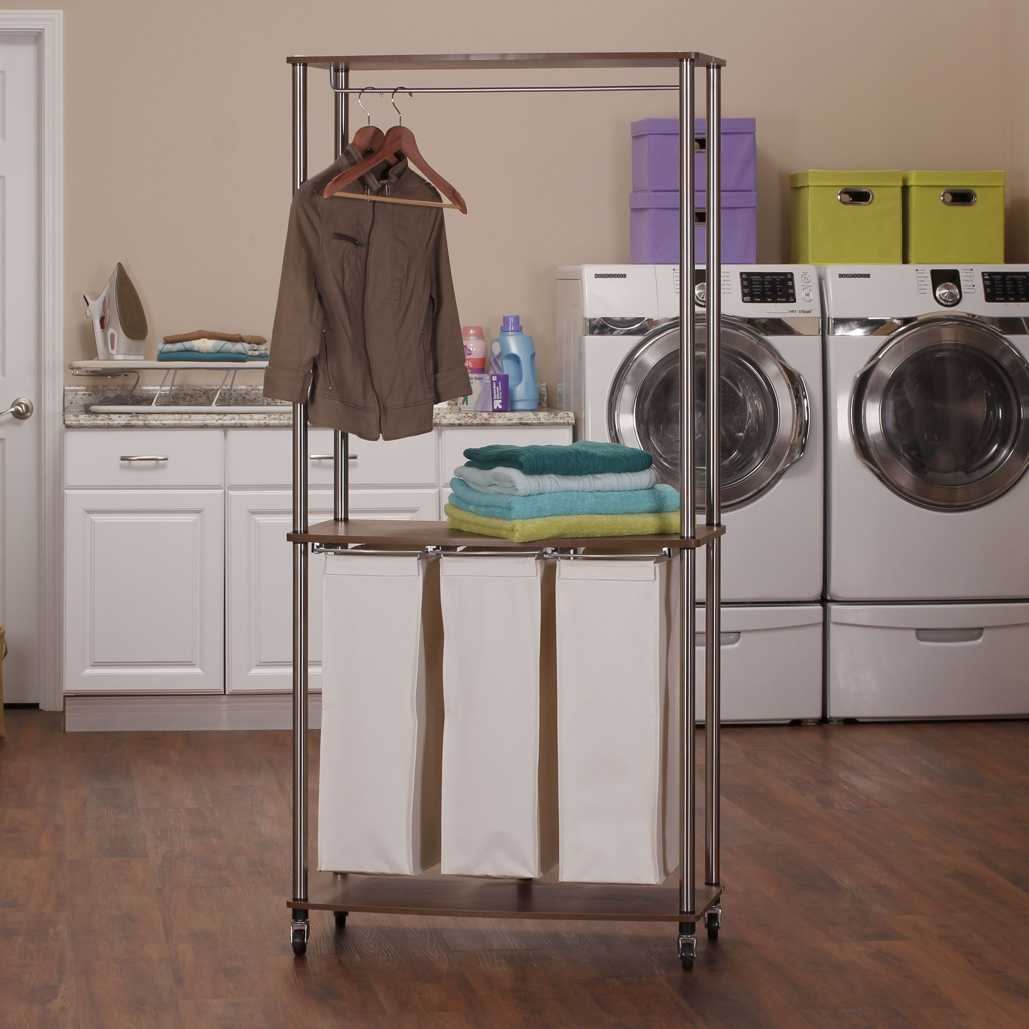 3 Bag Laundry Center Sorter With Hanging Rod This Cart Combines A Garment Rack Folding Table And Clothes In One