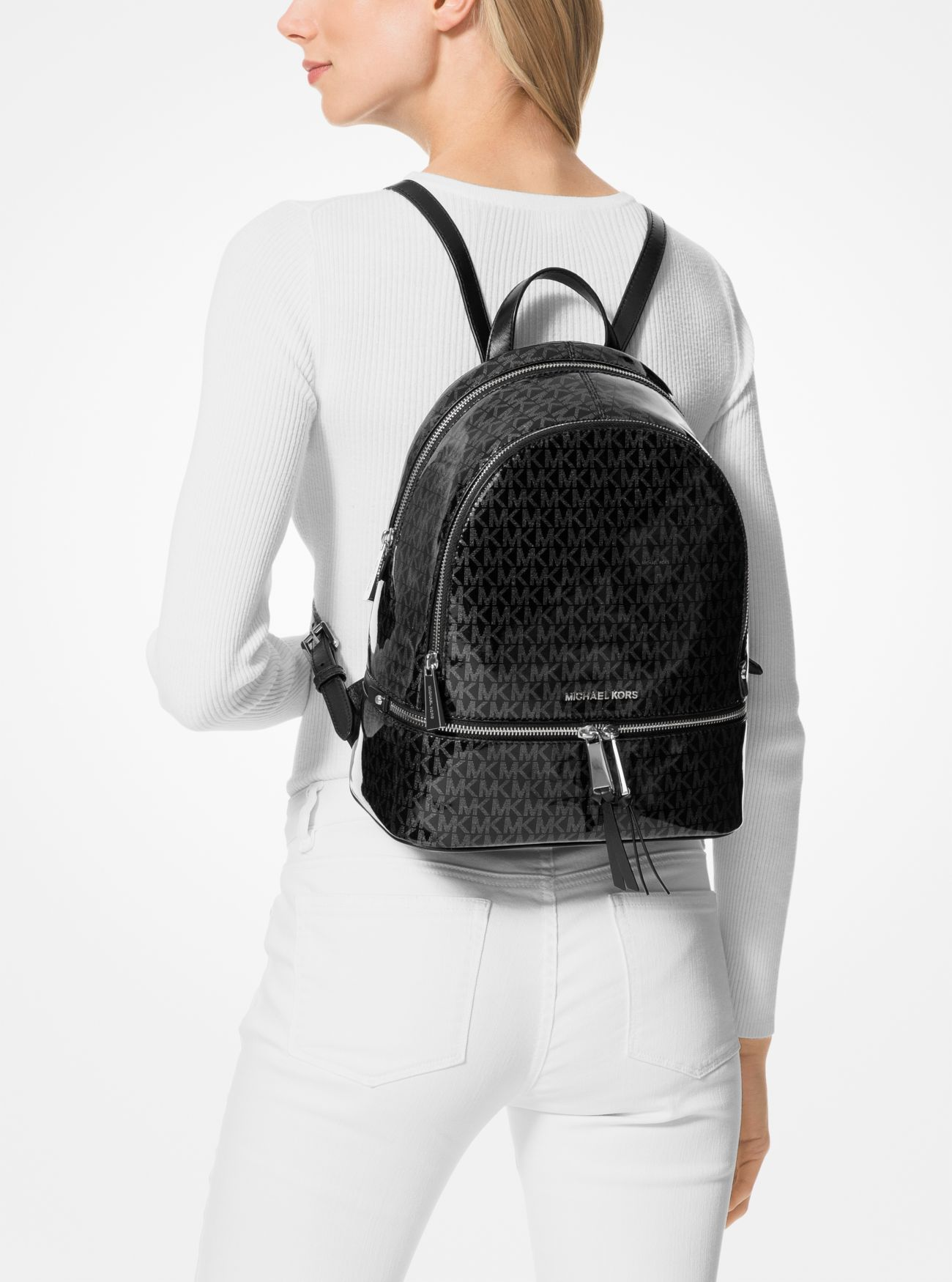 526f71061514 MICHAEL KORS Rhea Medium Glossy Signature Backpack in 2019