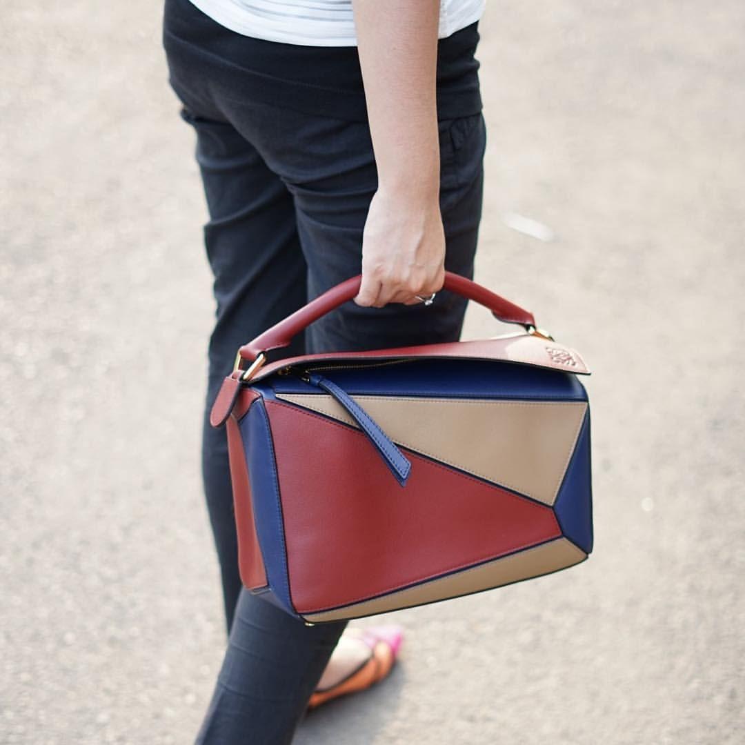 6ad45c396ceb0 READY LOEWE Medium Puzzle Bag in Brick Red Almond Multicolors Size 29cm x  19.5cm x 14cm