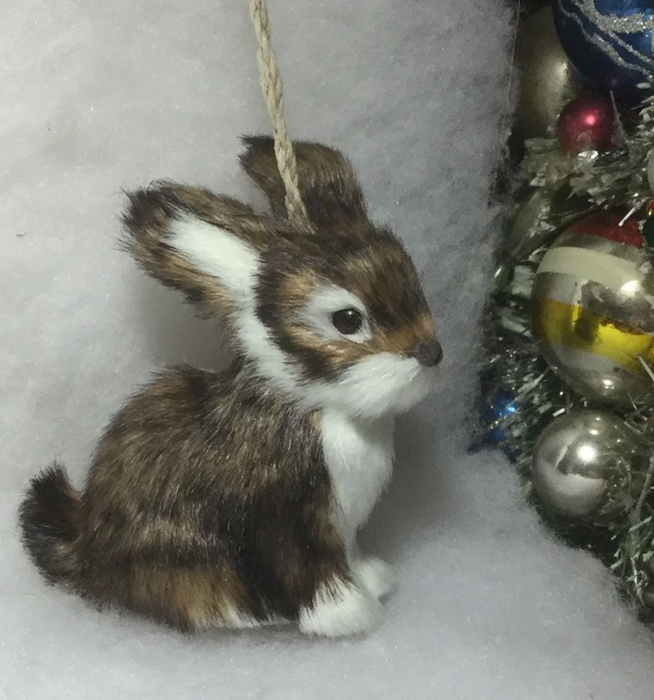 faux fur Woodland Rabbit Christmas Tree Ornament gray
