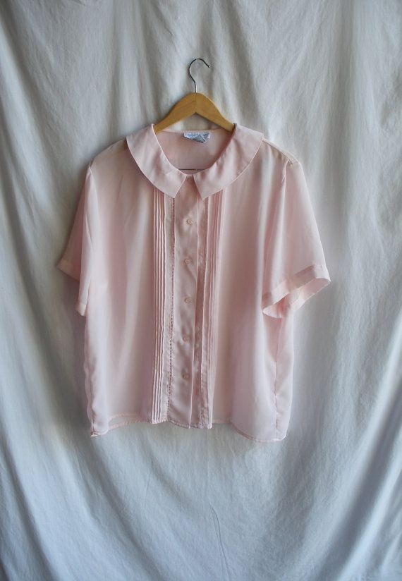 1960s sheer pink blouse with square peter pan par specailgirl7, $20.00