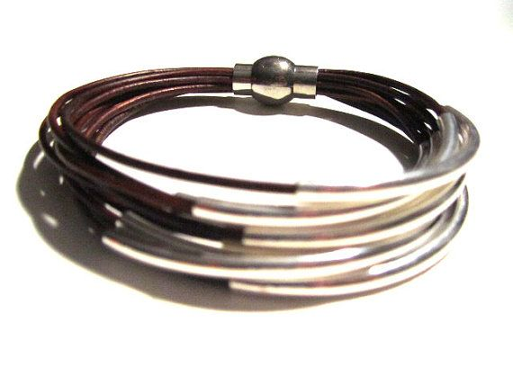 Red Brown Leather Cuff #Bracelet with Silver or by wrapsbyrenzel
