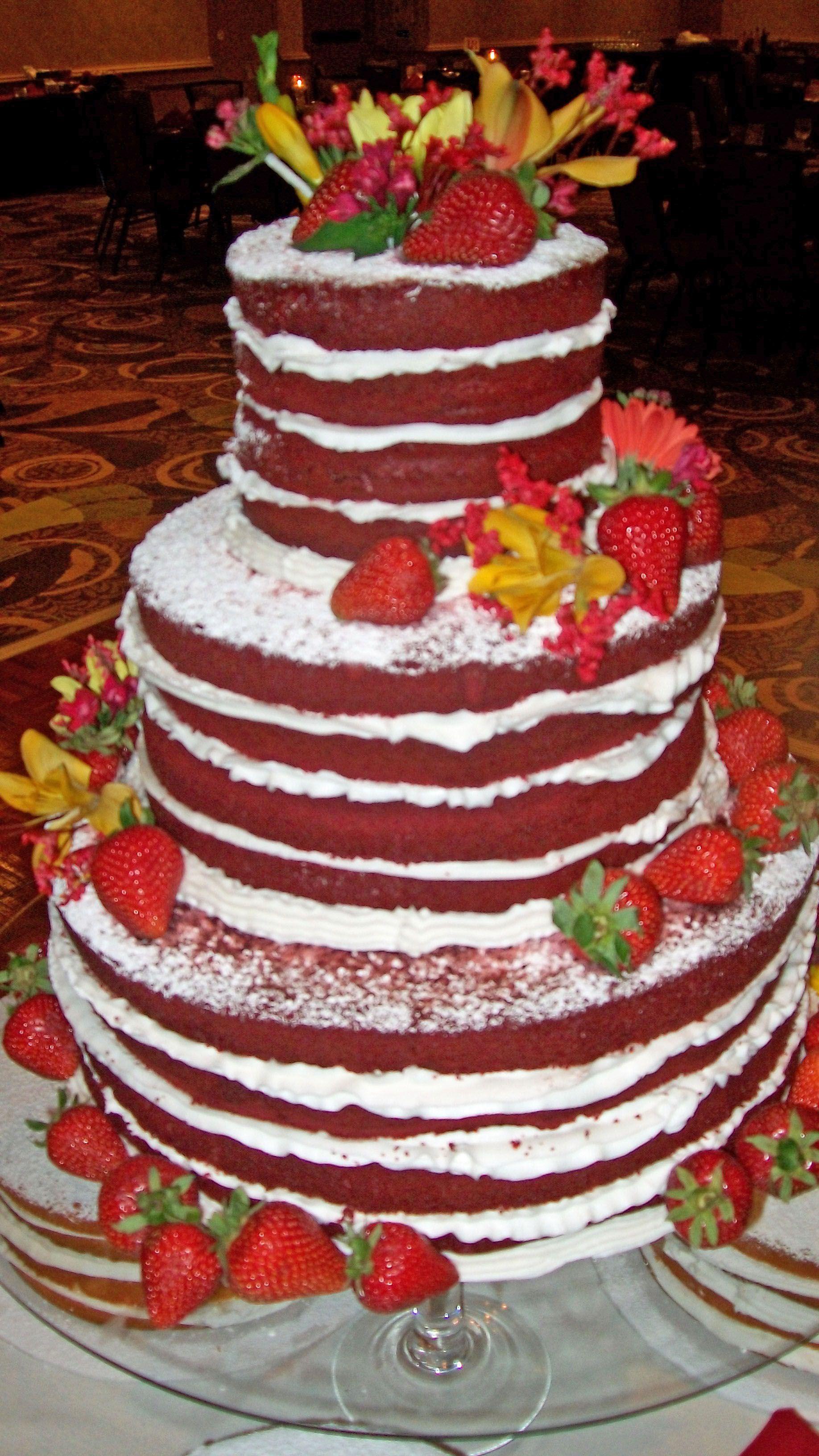 Strawberries and red velvet wedding cake crowne plaza lansing west