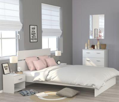 Schlafzimmer mit Bett 140 x 200 + Nako und Kommode Parisot Galaxy